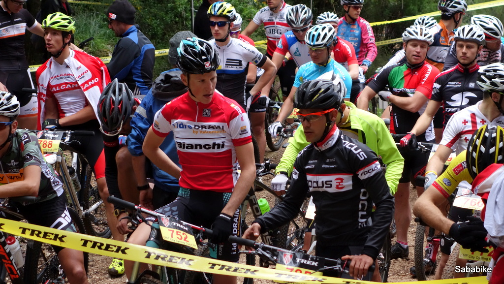 Racers getting ready on the start line.